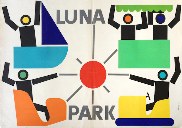 Perhacs - Luna Park amusement park 1964 vintage Hungarian advertising poster