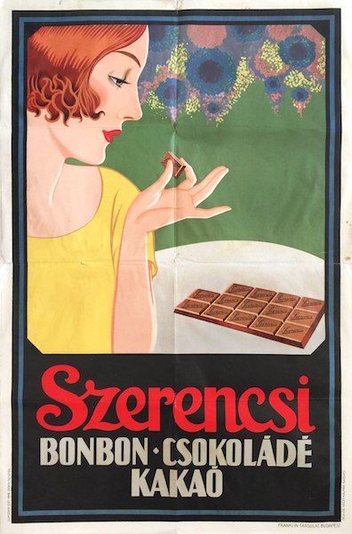 Szerencsi bonbons chocolate cocoa 1920s Hungarian vintage Art Deco advertising poster
